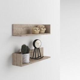 Set 2 rafturi de perete MobiliFiver Menaci, cu aspect de lemn de stejar