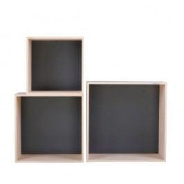 Set 3 rafturi Nørdifra Cubes, negru