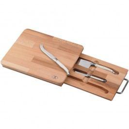 Set 3 cuțite pentru brânzeturi și platou din lemn de stejar Jean Dubost