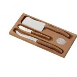 Set 3 cuțite din inox pentru brânzeturi, suport din lemn Jean Dubost