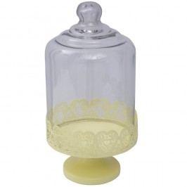 Suport servire cu capac sticlă Mauro Ferretti, galben