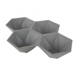 Tavă cu 4 compartimente Zuiver Hexagon, gri