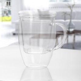 Cană pentru ceai din sticlă cu infuzor și capac Bambum Denisse, 500 ml