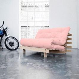 Canapea extensibilă Karup Roots Raw/Pink Peonie