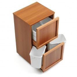 Organizator pentru reciclare cu 4 compartimente din lemn de fag Arredamenti Italia Madera,maro