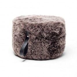 Puf rotund din blană de oaie Royal Dream, Ø 60 cm, taupe-negru