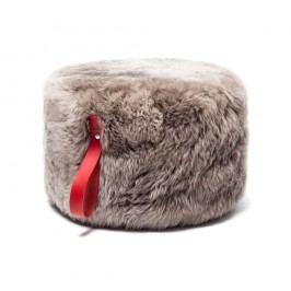 Puf rotund din blană de oaie Royal Dream, Ø 60 cm, gri-roșu