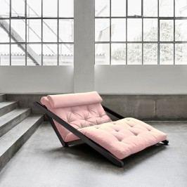 Șezlong extensibil cu 2 locuri Karup Figo Wenge/Pink Peonie