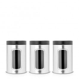 Set 3 recipiente de bucătărie Brabantia, 1,4 l, alb - negru