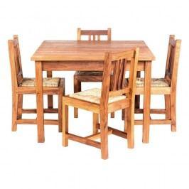 Măsuță cu 4 scaune din lemn de tec, pentru copii Massive Home Baby