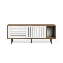Comodă TV TemaHome Dann Stripes, decor nuc cu detalii albe, lungime 165 cm