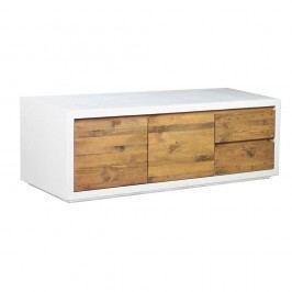 Masă TV din lemn de pin Woodking Stonewall, alb