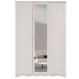 Șifonier din lemn masiv de pin cu 3 uși și oglindă Støraa Amanda, alb