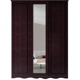 Șifonier din lemn masiv de pin cu 3 uși și oglindă Støraa Amanda, maro închis
