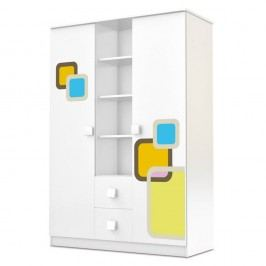 Dulap cu 2 uși și sertare Faktum Lolly, alb