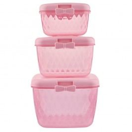 Set 3 cutii din plastic Miss Étoile Bow Rasberry