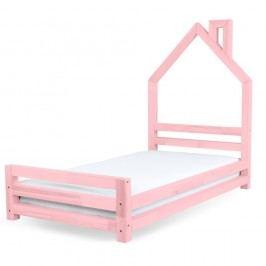 Pat pentru copii din lemn de pin Benlemi Wally, 90 x 160 cm, roz