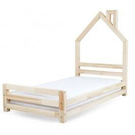 Pat pentru copii din lemn de pin lăcuit Benlemi Wally, 80 x 180 cm