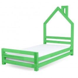 Pat pentru copii din lemn de pin Benlemi Wally, 80 x 180 cm, verde