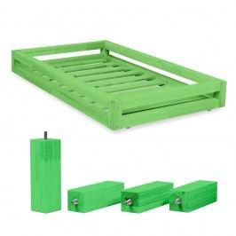 Set sertare pentru pat și 4 picioare lungi Benlemi, pentru pat de 80 x 160 cm, verde