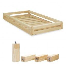 Set sertare lăcuite pentru pat și 4 picioare lungi Benlemi, pentru pat de 90 x 160 cm