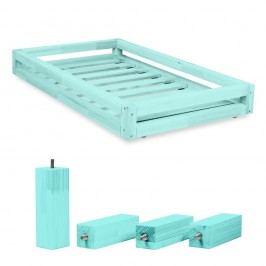 Set sertare pentru pat și 4 picioare lungi Benlemi, pentru pat de 90 x 160 cm, albastru
