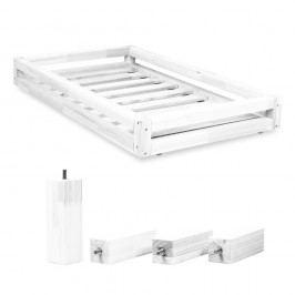 Set sertare pentru pat și 4 picioare lungi Benlemi, pentru pat de 80 x 200 cm, alb