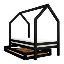Set sertar și 4 picioare suplimentare pentru pat Benlemi Funny, negru, 80 x 200 cm