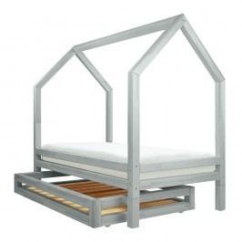 Set sertar și 4 picioare suplimentare pentru pat Benlemi Funny, gri deschis, 90 x 200 cm