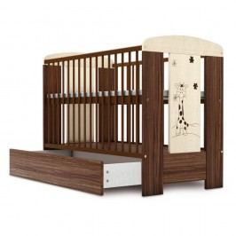 Pătuț pentru copii în nuanța lemnului cu bandă de protecție Faktum Makao, 60 x 120 cm