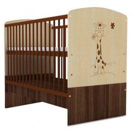 Pătuț pentru copii în nuanța lemnului cu bandă de protecție Faktum Makao Žirafa, 70 x 140 cm