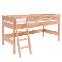 Pat supraetajat din lemn masiv de fag pentru copii Mobi furniture Nik, 200 x 90 cm