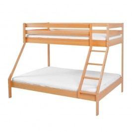 Pat supraetajat din lemn masiv de fag pentru copii Mobi furniture Maxim, 200 x 90 cm