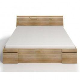 Pat dublu din lemn de fag, cu sertar, SKANDICA Sparta Maxi, 160 x 200 cm