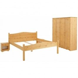 Mobilier din lemn de pin cu 3 corpuri pentru dormitor dublu Støraa Bangor