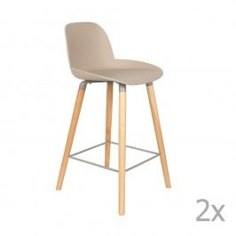 Set 2 scaune bar Zuiver Albert Kuip, înălțime scaun 65cm, bej - gri