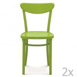 Set 2 scaune de lemn Fameg Helle, verde