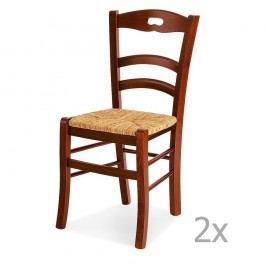 Set 2 scaune din lemn și paie Castagnetti Mare