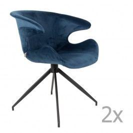 Set 2 scaune cu suport pentru brațe Zuiver Mia, albastru