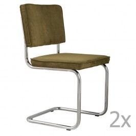 Set 2 scaune Zuiver Ridge Rib, verde