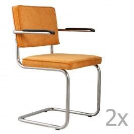 Set 2 scaune cu suport pentru brațe Zuiver Ridge Rib, galben