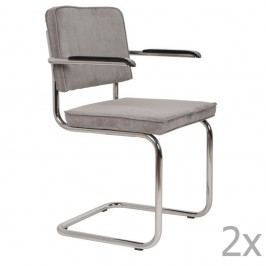 Set 2 scaune cu suport pentru brațe Zuiver Ridge Rib, gri deschis