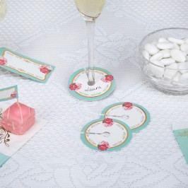 Set 10 suporturi pentru pahare cu etichete Neviti Eternal Rose