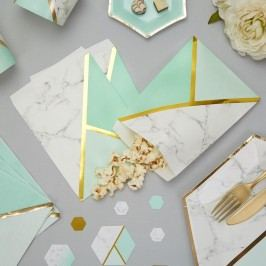 Set 25 pungulițe din hârtie Neviti Mint Colour Block Marble