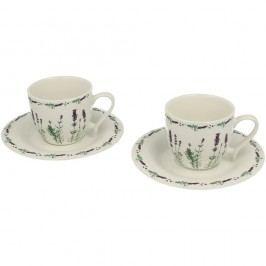 Set 2 căni din porțelan cu farfurioare Duo Gift Lavender