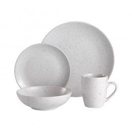 Serviciu de masă din ceramică Ladelle Speckle, 16 buc., alb