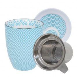 Set pentru ceai cu cană, farfurioară și sită Tokyo Design Studio Geo Eclectic, 380 ml, alb-turcoaz