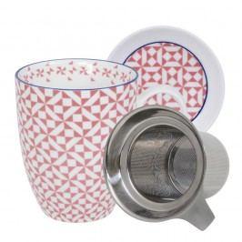 Set pentru ceai cu cană, farfurioară și sită Tokyo Design Studio Geo Eclectic, 380 ml, alb-roz