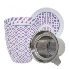 Set pentru ceai cu cană, farfurioară și sită Tokyo Design Studio Geo Eclectic, 380 ml, alb-violet