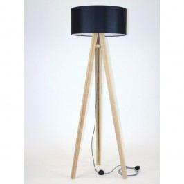 Lampadar cu abajur negru și cablu alb-negru Ragaba Wanda